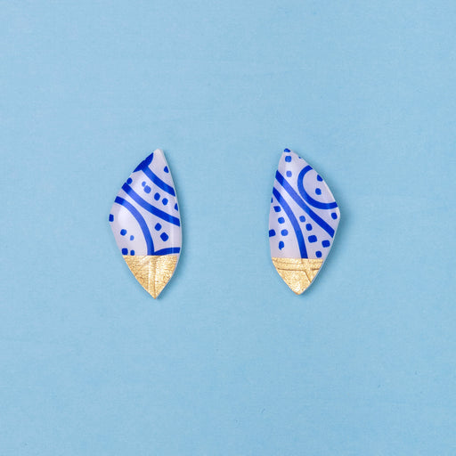 Porto Art Series Statement Stud - Blue and White