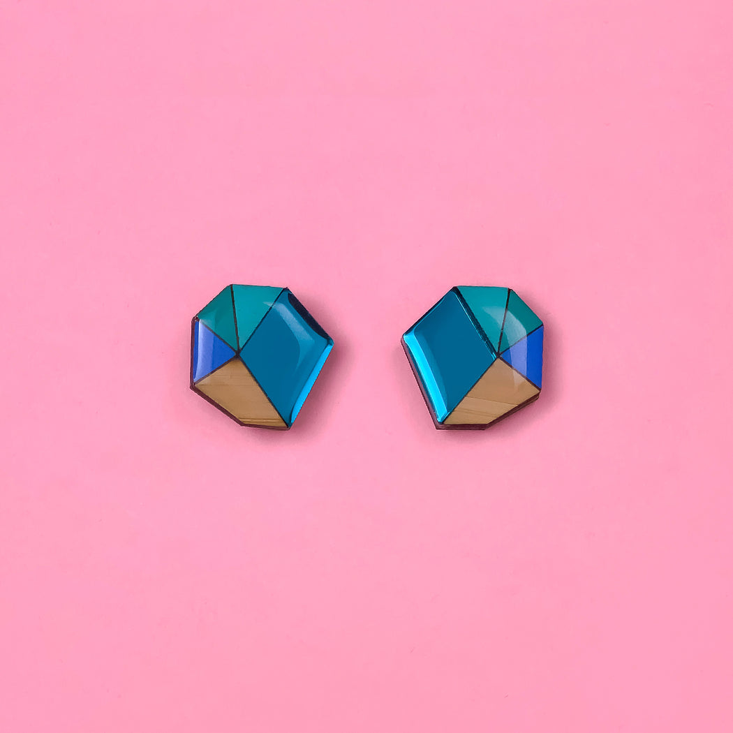 Geo Statement Stud -Teal, Blue & Mint