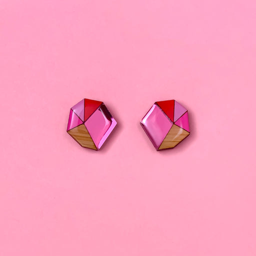 Geo Statement Stud -Pink & Red