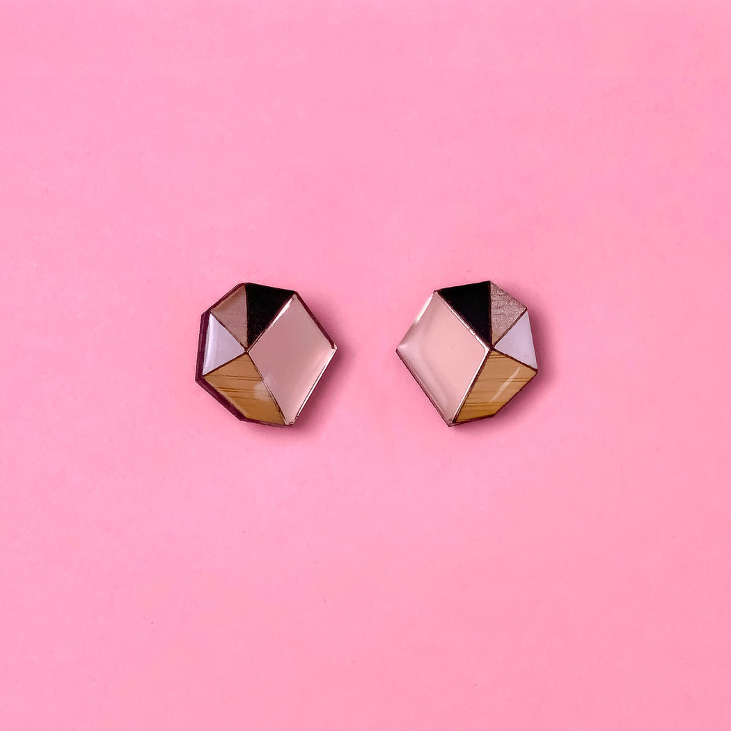 Geo Statement Stud - Rose Gold, Black & White