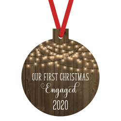 Our First Christmas Engaged 2020 Ornament with Faux Wood and Farmhouse White Lights