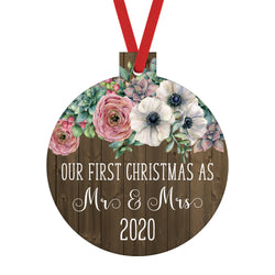 Our First Christmas as Mr. and Mrs. 2020 Ornament with Flowers over a Rustic Wood Background