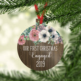 Our First Christmas Engaged 2020 Ornament with Faux Wood and Farmhouse Flowers