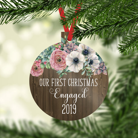 Our First Christmas Engaged 2019 Ornament with Faux Wood and Farmhouse Flowers
