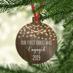 Our First Christmas Engaged 2019 Ornament with Faux Wood and Farmhouse White Lights