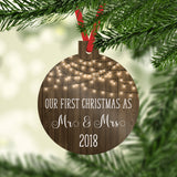 Our First Christmas as Mr & Mrs 2020 Ornament with Faux Wood and Farmhouse White Lights