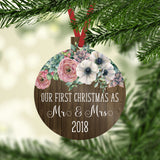 Our First Christmas as Mr. and Mrs. 2019 Ornament with Flowers over a Rustic Wood Background
