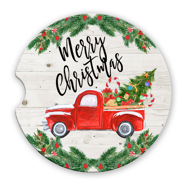 Sandstone Car Coasters Merry Christmas Vintage Red Truck Christmas Tree White Wood Background