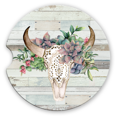Sandstone Car Coasters Green Succulent Boho Floral Bull Skull White Distressed Wood Background
