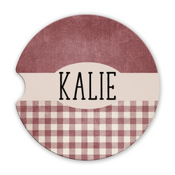 Sandstone Car Coasters Personalized Name Red Green Brown or Black Gingham Background Set of 2