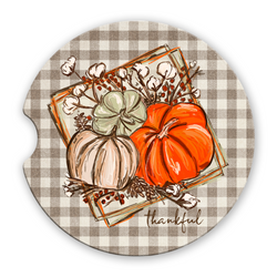 Thankful Sandstone Car Coasters Pumpkins and Fall Flowers over Gingham Plaid Background Set of 2