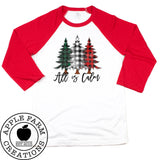 All is Calm Red Raglan Shirt with Buffalo Plaid Christmas Trees
