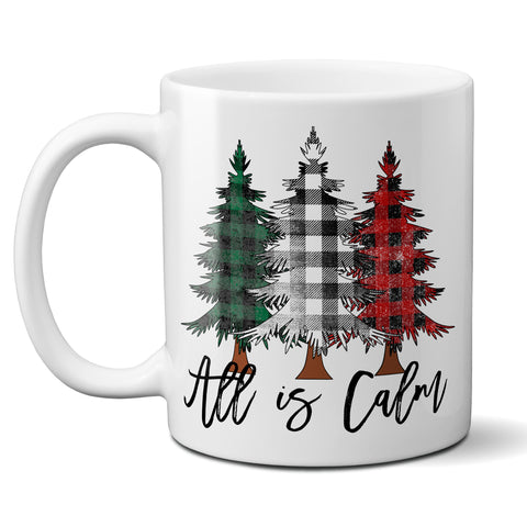 All is Calm Christmas Coffee Mug Buffalo Red Plaid Trees Ceramic Cup Holiday Gift Mug