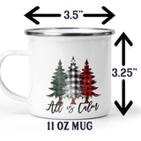 All is Calm Camp Cup with Rustic Buffalo Plaid Christmas Trees Stainless Steel Mug 11 ounce