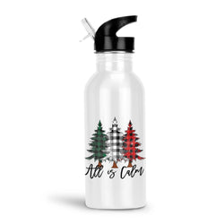 All is Calm Water Bottle with Rustic Buffalo Plaid Christmas Trees Aluminum Water Bottle Holiday Gift, 20 Ounce