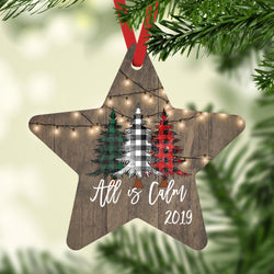 All is Calm 2019 Christmas Ornaments Farmhouse White Lights over Barnwood and Plaid Trees, Star