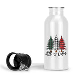 All is Calm Aluminum Water Bottle with Rustic Buffalo Plaid Christmas Trees Holiday Gift, 20 Ounce