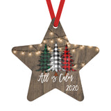 All is Calm 2020 Christmas Ornaments Farmhouse White Lights over Barnwood and Plaid Trees, Star