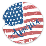 Sandstone Car Coasters America with Tattered American Flag, Set of 2