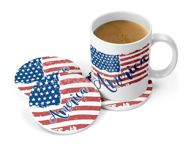 America Sandstone Coasters for Home with Tattered American Flag, Coaster Set of 2 or 4