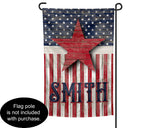 Personalized Custom Name Garden Flag with Rustic Wood American Flag and Star 12x18 inches