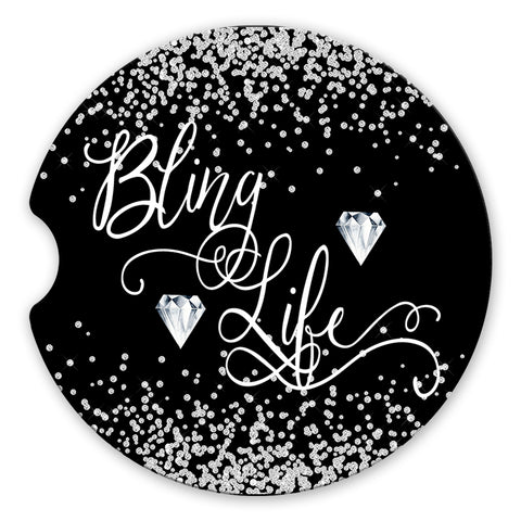 Sandstone Car Coasters Bling Life with Printed Diamond Confetti and Black Background, Set of 2