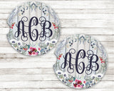 Blue and Pink Floral Monogram Sandstone Car Coasters Distressed Grey Wood Background Set of 2