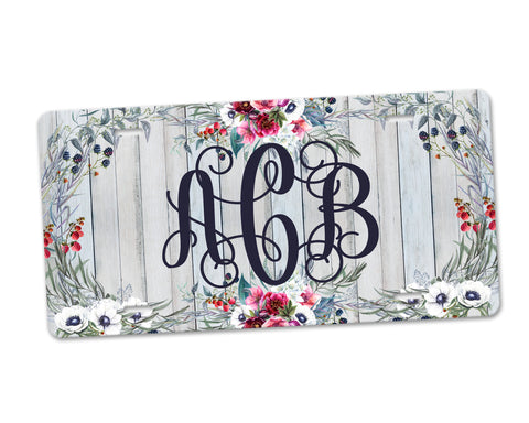 Personalized Monogram Aluminum License Plate Boho Floral Wreath Grey Barn Wood Background