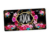 Aluminum License Plate Personalized Monogram Gold Frame Boho Floral Wreath Black Background
