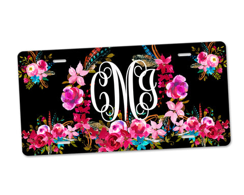 Aluminum License Plate Personalized Monogram Boho Floral Wreath Black Background