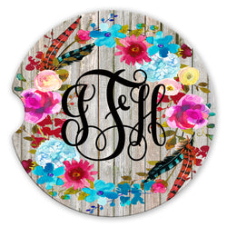 Sandstone Car Coasters Personalized Monogram Boho Floral Wreath Grey Wood Background, Set of 2