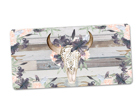 Western Boho Floral Bull Skull Aluminum License Plate with Grey Barn Wood Background