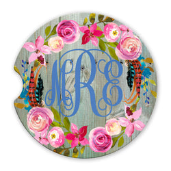 Sandstone Car Coasters Personalized Monogram Boho Floral Wreath Weathered Green Wood Background