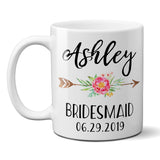 Ceramic Coffee Mug Custom Personalized Bridesmaid Gift with Boho Floral Arrow - Pink