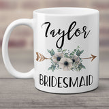 Ceramic Coffee Mug Custom Personalized Bridesmaid Gift with Boho Floral Arrow - White