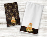Fall Harvest Decor Thanksgiving Pumpkins Premium Micro Velour Kitchen Towel Set of 2