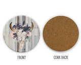 Western Boho Floral Bull Skull Distressed Wood Background Sandstone Coasters for Home