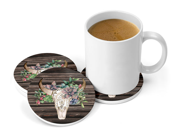 Succulents Floral Bull Skull Distressed Brown Wood Background Sandstone Coasters for Home