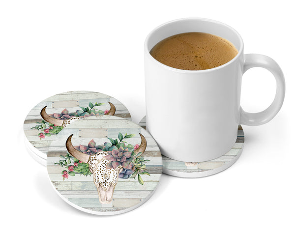 Succulents Floral Bull Skull Distressed White Wood Background Sandstone Coasters for Home