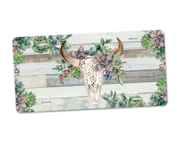 Aluminum License Plate Boho Floral Bull Skull Green Succulent Florals Faux Distressed White Wood