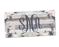 Aluminum License Plate Personalized Monogram Pink Lavender Floral Distressed Grey Wood Background