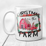 Christmas on the Farm Coffee Mug with Vintage Red Truck Christmas Tree Red Barn and Farm Animals