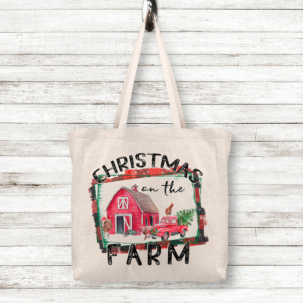 Christmas on the Farm Linen Tote Bag with Red Barn Vintage Truck and Farm Animals in Santa Hats