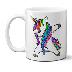 Dabbing Unicorn Mug Funny Coffee Mug Glitter Unicorn Dab Ceramic Coffee Mug