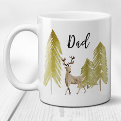 Deer in the Forest Ceramic Coffee Mug with Personalized Script Name