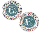 Dusty Blue Misty Rose Personalized Monogram Sandstone Car Coasters for Women Floral Background