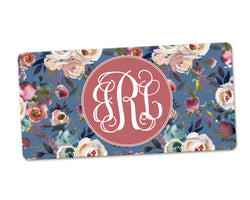 Personalized Monogram Aluminum License Plate Dusty Blue and Misty Rose Floral over Blue Background