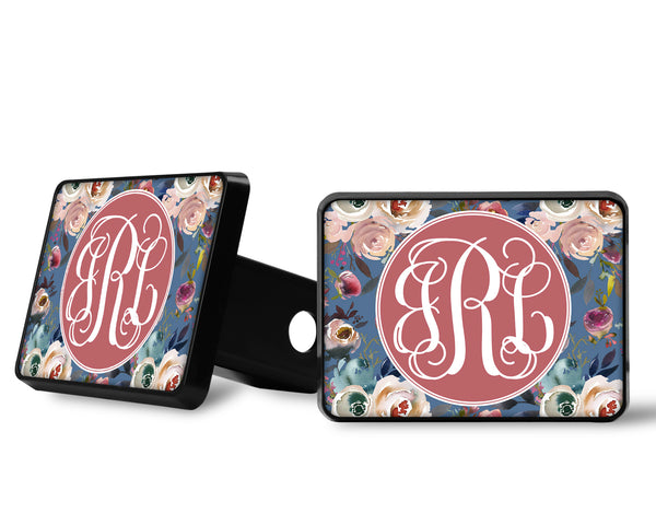 Dusty Blue and Misty Rose Floral Monogram Trailer Hitch Cover Custom Name White Blue Background