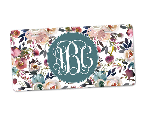 Personalized Monogram Aluminum License Plate Dusty Blue and Misty Rose Floral Background