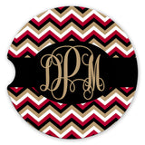 Sandstone Car Coasters Personalized Monogram Black Garnet and Gold Chevron Set of 2